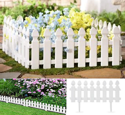 £9.99 • Buy White Border Plastic Fencing 4 Pack Wooden Effect Lawn Garden Patio Edging