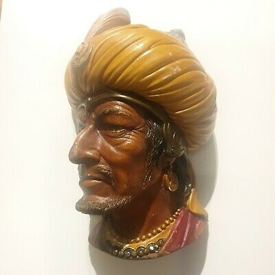 £9.99 • Buy Vintage Bossons Saracen Chalkware Head Wall Plaque Made In England 1960