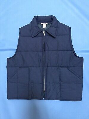 $43 • Buy Big Smith Vintage 1970s Blue Quilted Puffer Collared Vest Trucker