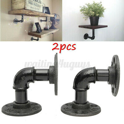 £9.58 • Buy 2Pcs Industrial Pipe Shelf Brackets Wall Floating Iron Rustic Shelves Supports