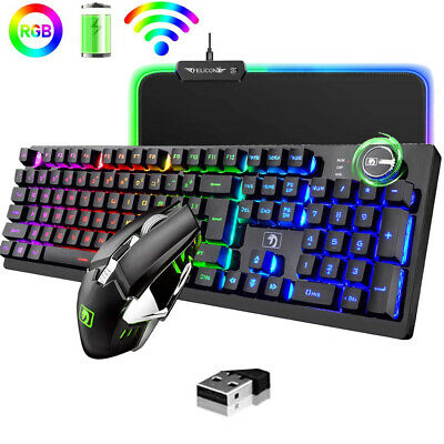 AU71.34 • Buy 2.4G Wireless Rechargeable Gaming Keyboard Mouse And Mouse Pad Combo RGB Backlit