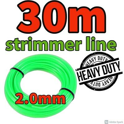 Heavy Duty 30M X 2mm Strimmer Line Wire String Cord Nylon Petrol TRIMMER Metre • 6.49£