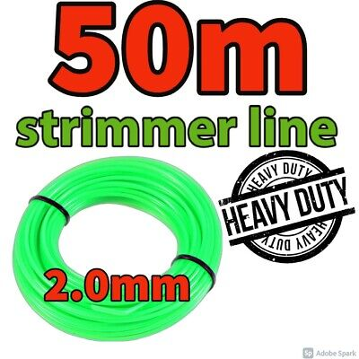 Heavy Duty 50M X 2mm Strimmer Line Wire String Cord Nylon Petrol TRIMMER Metre • 8.99£