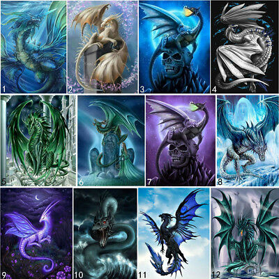 AU10.99 • Buy Dragon Full Drill DIY 5D Diamond Painting Embroidery Loong Cross Stitch Kit Art