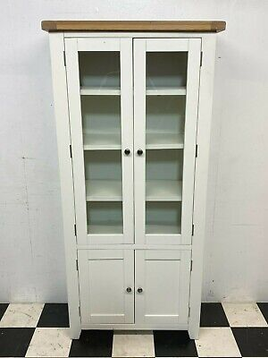 £175 • Buy Modern Hampshire White Painted Oak Top Glazed Display Cabinet RRP £449 -Delivery