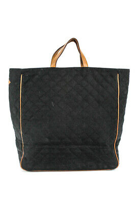 AU78.64 • Buy MZ Wallace  Large Quilted Open Top Tote Handbag Black Tan
