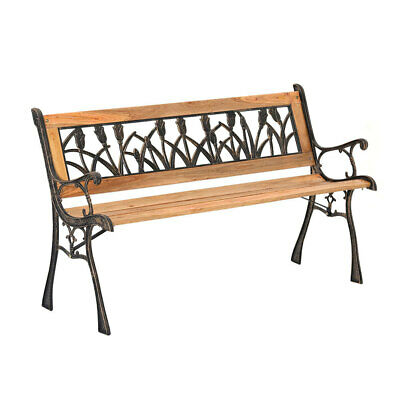 Wrought Iron 2-3 Seater Outdoor Wooden Garden Balcony Bench Park Seat Furniture • 88.95£