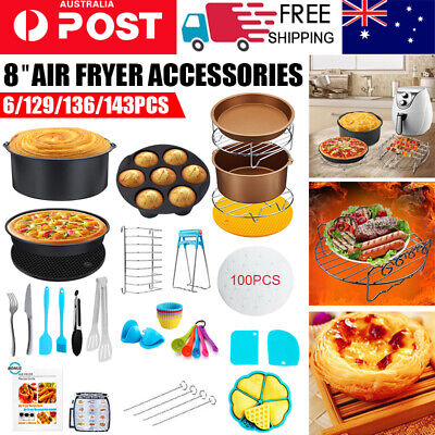 AU25.74 • Buy 8  Air Fryer Accessories Rack Cake Pizza Oven Barbecue Frying Pan Tray 6-143PC