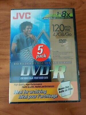 £6.95 • Buy JVC DVD-R 120 Min 4.7 GB Recordable Disc - 5 Pack - New, Factory Sealed