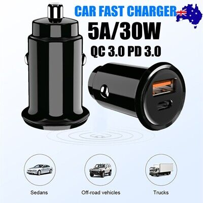 AU13.50 • Buy 30W Car Quick Charger USB Type C Fast Charge PD QC3.0 Cigarette Lighter Adapter