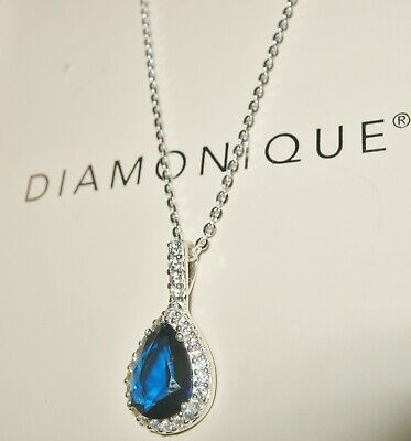 $ CDN34.55 • Buy Diamonique *stunning* Clear & Sapphire Blue Pendant Necklace Sterling Silver Qvc