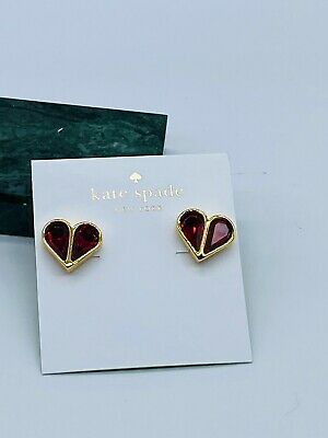 $ CDN22.97 • Buy Kate Spade Red Stone Heart  Earrings Free Shipping