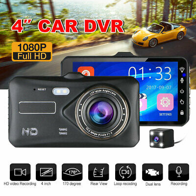 AU45.99 • Buy 4 Inch FHD Touch Car Dash Camera Video DVR Recorder Front And Rear Dual Dash Cam
