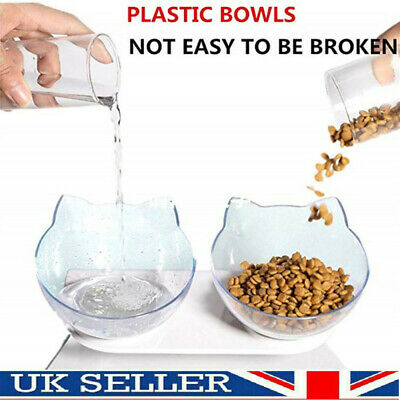 £7.69 • Buy Pet Food Double Bowl With Raised Stand Dog Cat Dual Water Feed Station Non-slip