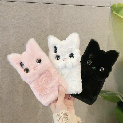 AU13.99 • Buy Cute Girls Fluffy Plush Cat Phone Case Cover For IPhone 7 8 XS XR 12 11 Pro Max