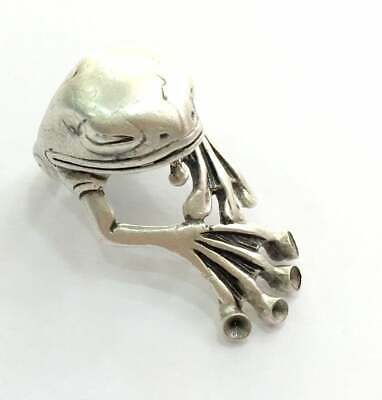 £3.86 • Buy Frog Ring Blank Setting Base Bezel Cabochon Antique Silver Plated Brass G5905