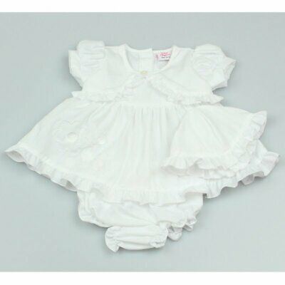 £9.99 • Buy Bnwt Baby Girls Spanish Style Frilly Embroidered Dress Hat Knicker Set White