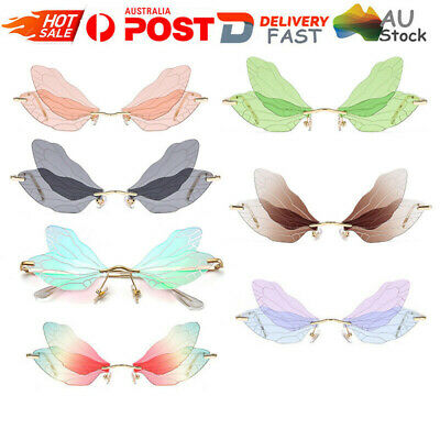AU11.19 • Buy Butterfly Dragonfly Wings Sunglasses Women Fashion Unique Rimless Glasses HG