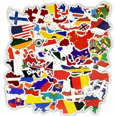 £5.52 • Buy 50pcs Countries National Flag Sticker Pack World Map Cities Geography Travel