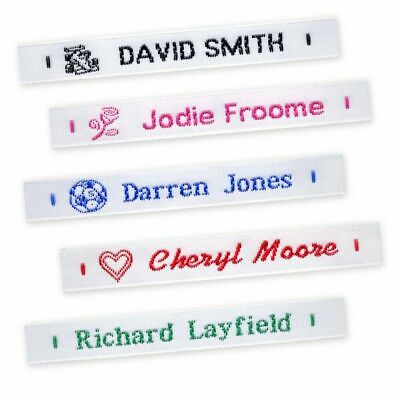 £9.95 • Buy Personalized Lettering 72 Woven Sew On Name Tapes School Tags Labels Clothing