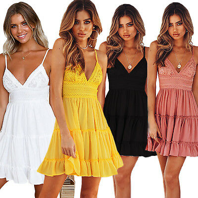 AU17.66 • Buy Women Strappy Ruffle Lace V-Neck Casual Mini Dress Cocktail Party Swing Sundress