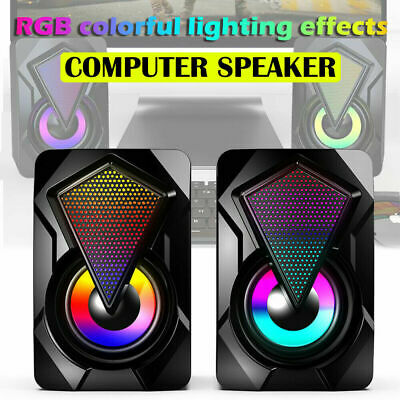 £9.90 • Buy Surround Sound System LED Speakers Gaming Bass USB Wired For Desktop Computer PC