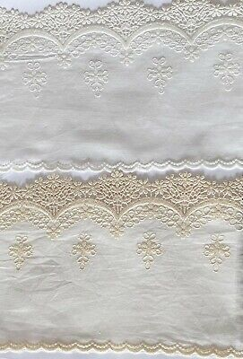 £4.59 • Buy Cotton Embroidered Lace Fabric Trim 1 Yard Width 14 Cm