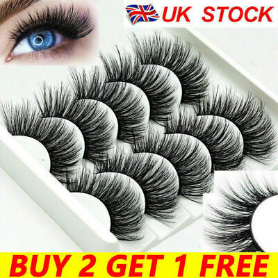 3D Mink False Eyelashes 5Pair Wispy Cross Long Thick Soft Fake Eye Lashes  UK • 2.59£