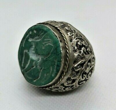 £130.18 • Buy Detector Finds Ancient Viking Huge Silver Color Ring With Green Stone Engravings