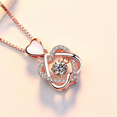 £1.99 • Buy STOCK Rose Gold Heart Pendant 925 Sterling Silver Chain Necklace Jewellery Gift