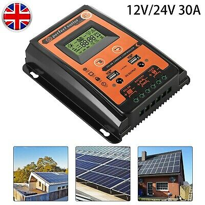 12/24V 30A Intelligent  MPPT Solar Charge Controller Panel Battery Regulator • 19.73£