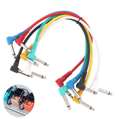 $ CDN10.27 • Buy 6 Mono Right Angled Jack Patch Cables For Guitar Effects Pedal Leads Studio Cord
