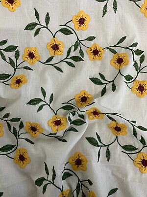 £25 • Buy 5 Metres White With Yellow Embroidered Sunflowers 100% Cotton Lawn Dress Fabric