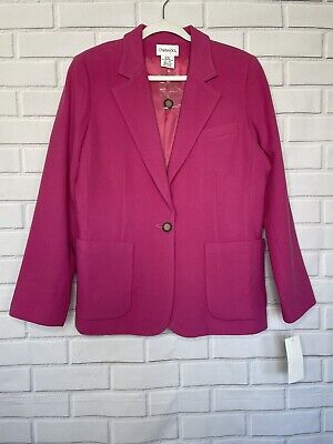 £23.62 • Buy CHADWICKS Womens Pink One Button Blazer 14 Size Lined Two Front Pockets Wool