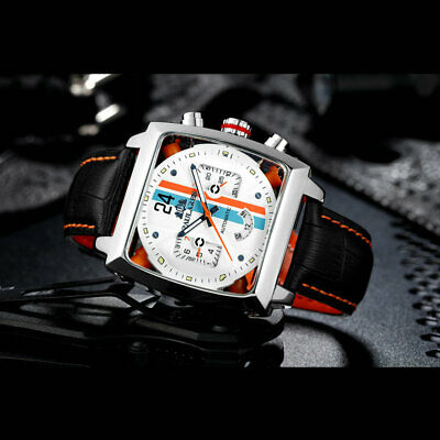 $ CDN39.92 • Buy NEW Monaco Homage Watch Racing Square Mechanical Orange Blue Livery Waterproof