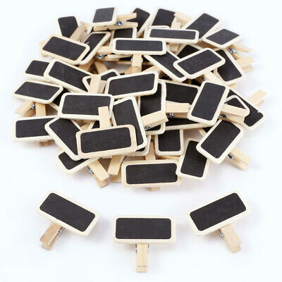 £7.99 • Buy 50 Rustic Natural Wooden Mini Chalkboard Name Tags On Clip Pegs
