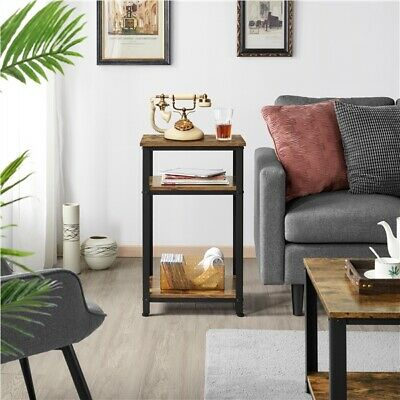 £36.99 • Buy Side Table Rustic Industrial End Telephone Table With 2-Tier Shelves