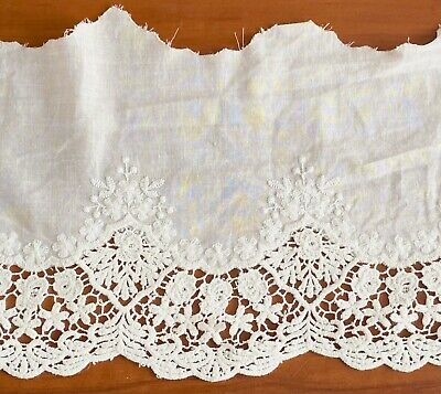 £5.69 • Buy Cotton Embroidered Lace Fabric Trim 1 Yard Width 20 Cm