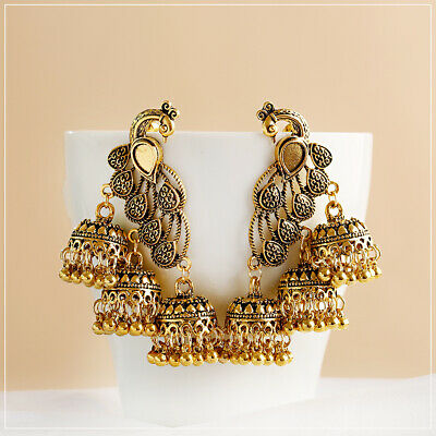 AU1.18 • Buy Retro Golden Peacock Bell Jhumka Indian Bollywood Ethnic Dangle Earrings Jewelry