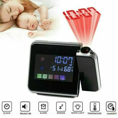 £7.99 • Buy LCD Digital Projection Alarm Clock Thermometer Whether Calendar Wall Projector