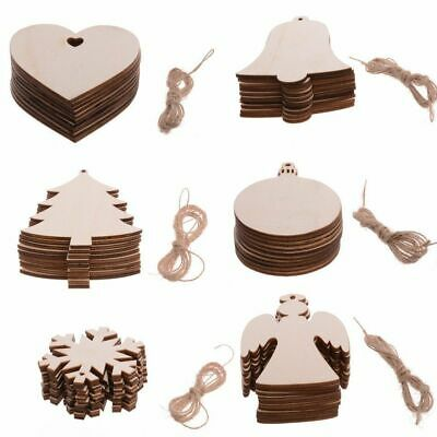 £2.39 • Buy Wooden Home Craft Hanging Bauble Blank Shapes Christmas Snowflakes Tree Decor UK