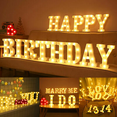 £6 • Buy LED Alphabet Letters Lights Large Light Up Plastic Numbers Birthday Sign Party