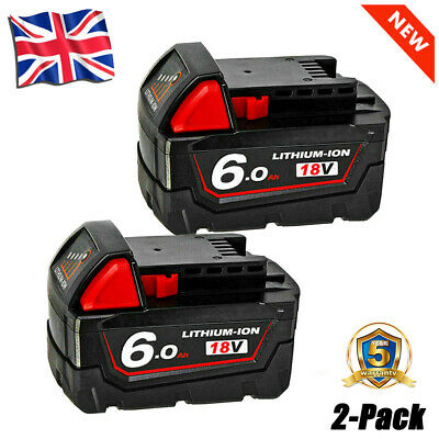 £37.99 • Buy 2X For Milwaukee M18 18Volt Extended Capacity Battery Lithium XC 6.0 48-11-1860