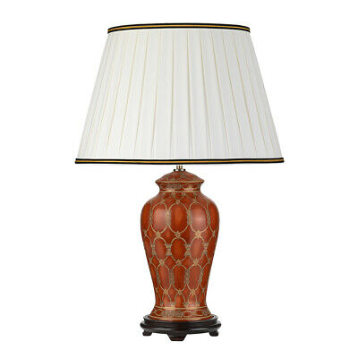 Table Lamp-Ivory With Black And Gold Trim Shade- Terracotta- LED E27 60W Bulb • 264.99£