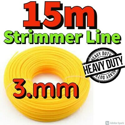 Heavy Duty 15M X 3.mm Strimmer Line Wire String Cord Nylon Petrol TRIMMER Metre • 4.99£