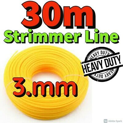 Heavy Duty 30M X 3.mm Strimmer Line Wire String Cord Nylon Petrol TRIMMER Metre • 7.99£
