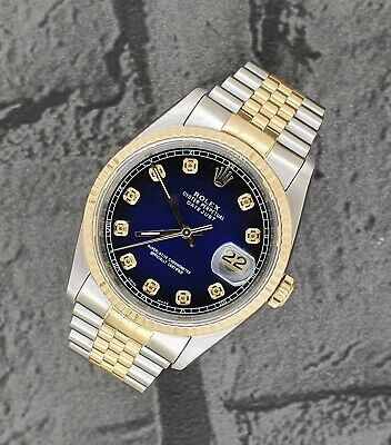 $ CDN7685.86 • Buy Gents Steel & Gold Rolex Oyster Perpetual Datejust - Blue Vignette Diamond Dial