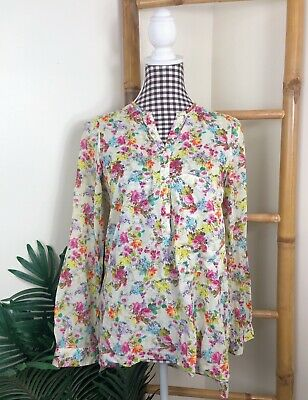 AU16.20 • Buy Zara Blouse Size S (8-10)  Floral Long Sleeve Cotton Casual Beige Pink