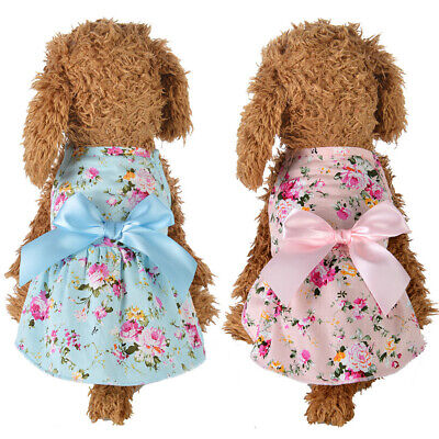 Spring Summer Flower Print Cotton Pet Dress Cats Dog Costume Outfit Clothes UK • 6.84£