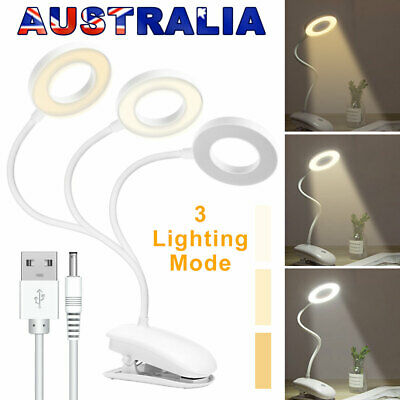 AU18.95 • Buy Rechargeable Flexible LED Desk Lamp Reading Light Dimmable Clip On Bedside Lamps